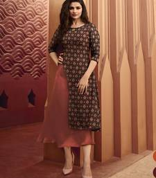 Coffee Printed Silk Kurtis