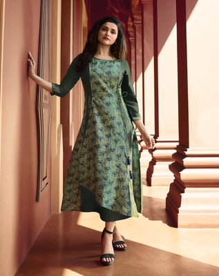 Light-green printed silk kurtis