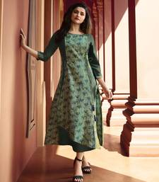 Light-green printed silk kurtis