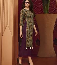 Wine Printed Silk Kurtis