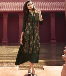Green Printed Silk Kurtis