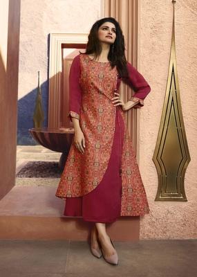 Pink printed silk kurtis