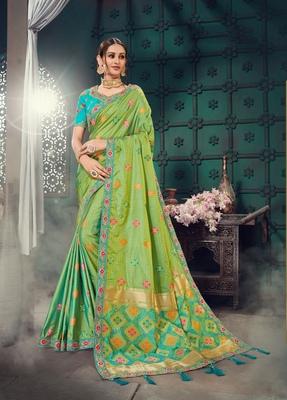 Green embroidered bhagalpuri silk saree with blouse