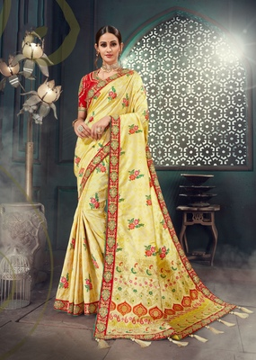 Beige embroidered bhagalpuri silk saree with blouse