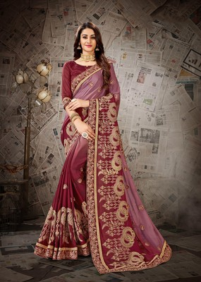 Maroon embroidered chiffon saree with blouse