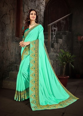 Cyan embroidered art silk saree with blouse