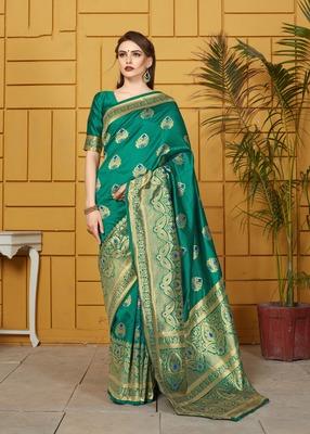Light teal woven silk saree with blouse