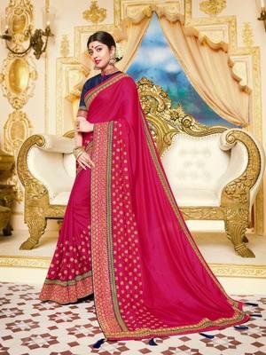 Rani pink embroidered satin saree with blouse