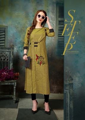 Mustard embroidered cotton embroidered-kurtis
