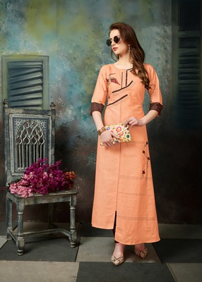 Apricot embroidered cotton embroidered-kurtis
