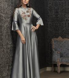 Grey embroidered georgette embroidered-kurtis