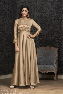 Beige embroidered georgette embroidered-kurtis