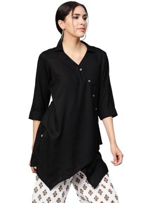 Shree Women Black Rayon Solid Tunic