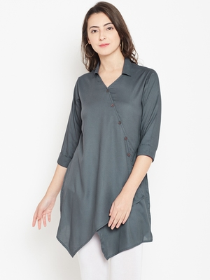 Shree Women Grey Rayon Solid Tunic