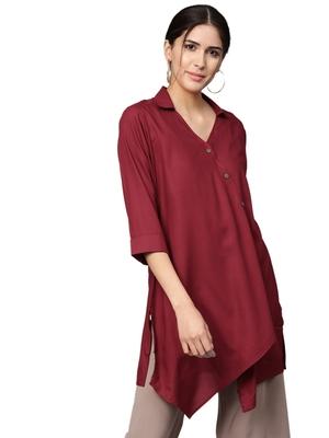 Shree Women Maroon Rayon Solid Tunic