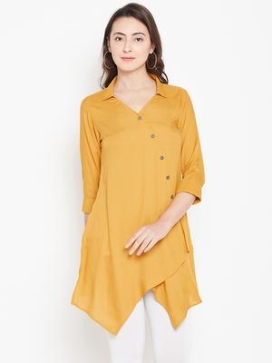 Shree Women Mustard Rayon Solid Tunic