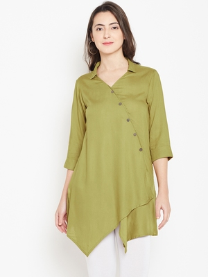 Shree Women Olive Rayon Solid Tunic