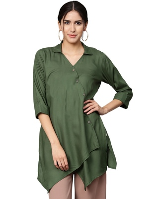 Shree Women Bottle Green Rayon Solid Tunic