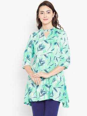 Shree Women Teal Rayon Printed Tunic