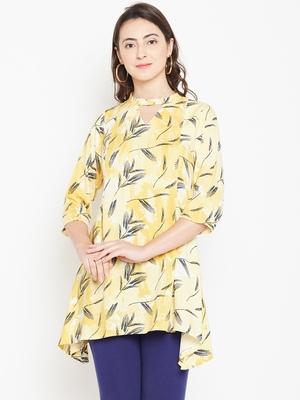 Shree Women Yellow Rayon Printed Tunic