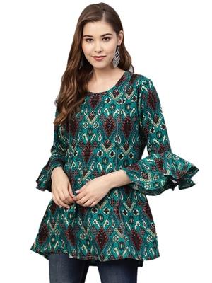 Shree Women Teal Rayon Ikat Tunic