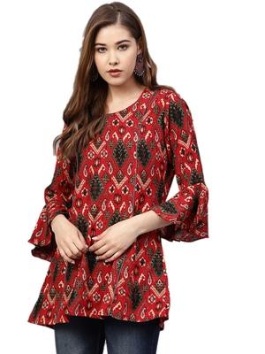 Shree Women Red Rayon Ikat Tunic