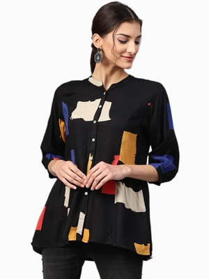 Shree Women Black Rayon  Abstract Tunic