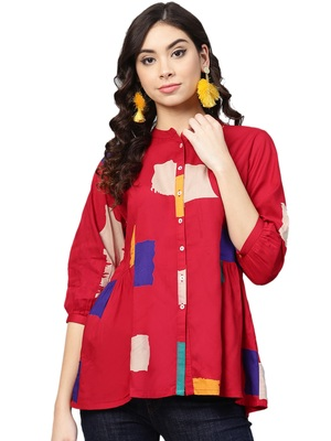 Shree Women Red Rayon  Abstract Tunic