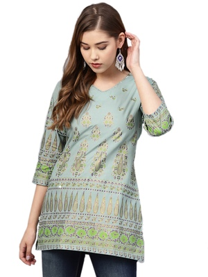 Shree Women Dusty Blue Cotton Printed Tunic