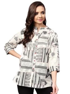 Shree Women Off-White & Black Cotton Abstract Tunic