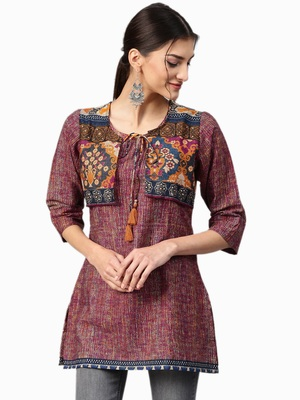 Shree Women Wine & Multi Rayon Printed Tunic