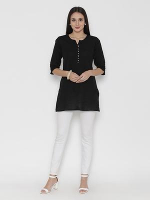 Shree Women Black Cotton Solid Tunic