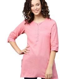 Shree Women Light Pink Flex Cotton Solid Tunic
