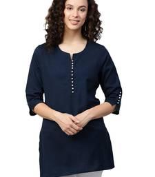Shree Women Navy Flex Cotton Solid Tunic