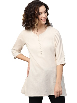 Shree Women Off-White Flex Cotton Solid Tunic