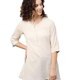 Shree Women Off-White Flex Cotton Solid Tunic