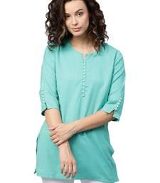 Shree Women Rama Green Flex Cotton Solid Tunic