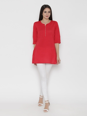 Shree Women Red Cotton Solid Tunic
