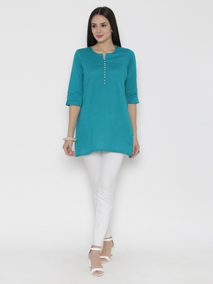 Shree Women Teal Cotton Solid Tunic