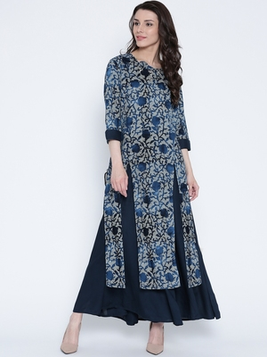 Shree Women Navy Rayon Embellished Kurta