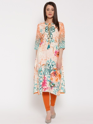 Shree Women Orange & Teal Rayon Embellished Kurta