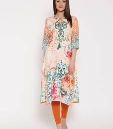 Shree Women Orange & Teal Rayon Embellished Kurta