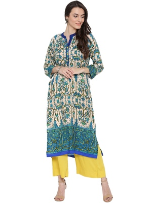 Shree Women Blue Rayon Floral Printed Kurta