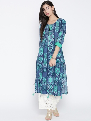 Shree Women Teal Rayon Geometric Printed Kurta