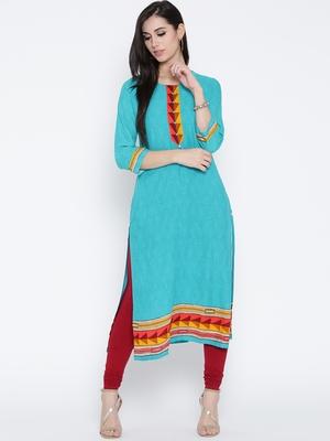 Shree Women Turquoise Rayon Printed  Kurta