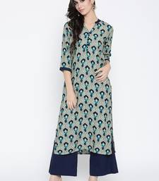 Shree Women Gray & Blue Rayon Printed Kurta