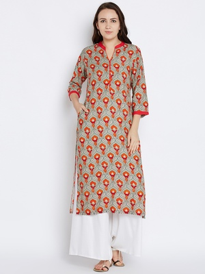 Shree Women Gray & Red Rayon Printed Kurta
