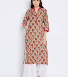 Shree Women Gray & Red Rayon Printed Kurta
