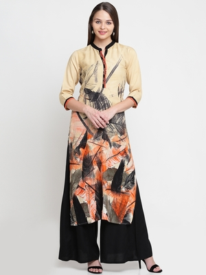 Shree Women Orange Liva Printed Kurta
