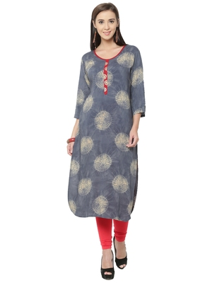 Shree Women Grey Rayon Blockprinted Kurta